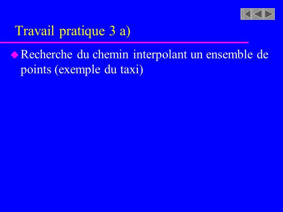 Travail pratique 3 a) Recherche du chemin interpolant un ensemble de points (exemple du taxi)