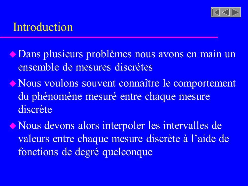 Introduction Dans plusieurs problèmes nous avons en main un ensemble de mesures discrètes.