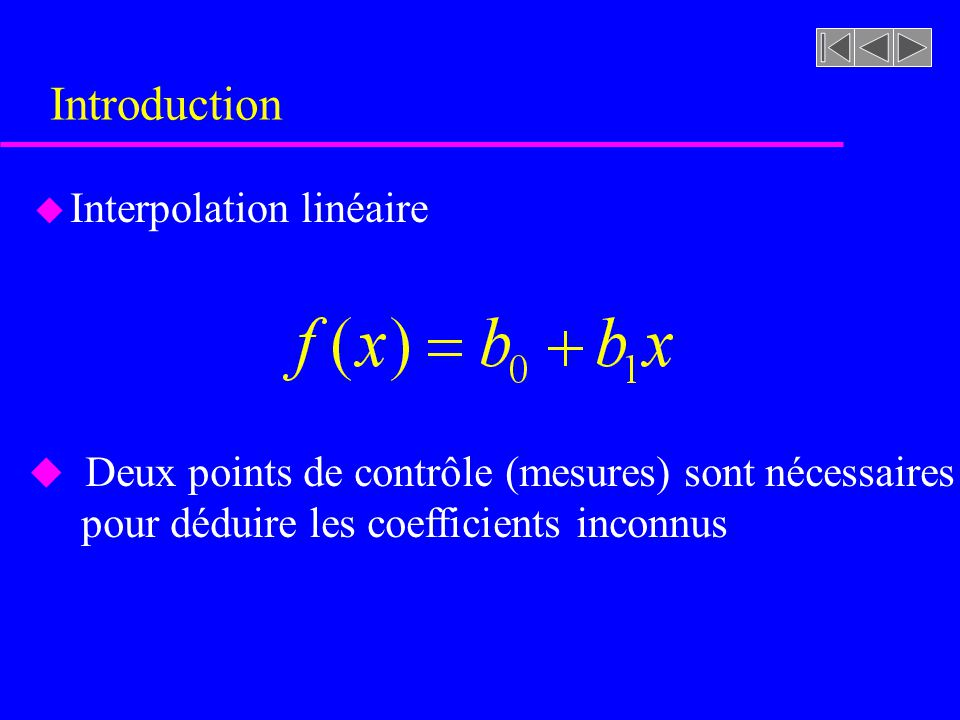 Introduction Interpolation linéaire