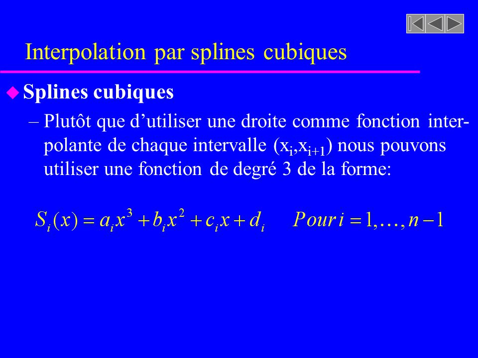 Interpolation par splines cubiques