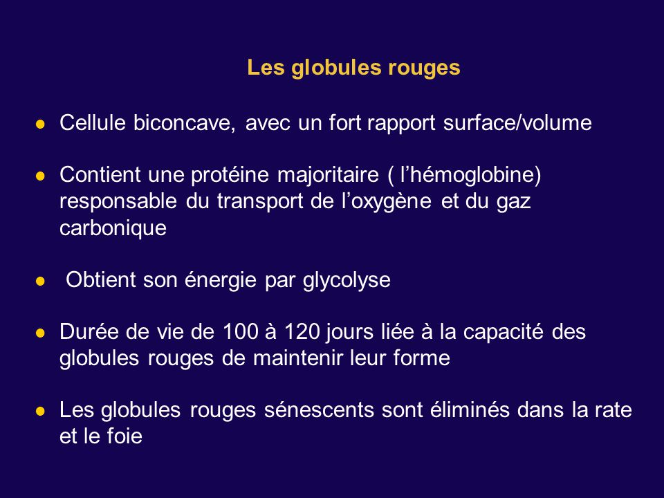 Les globules rouges Cellule biconcave, avec un fort rapport surface/volume.