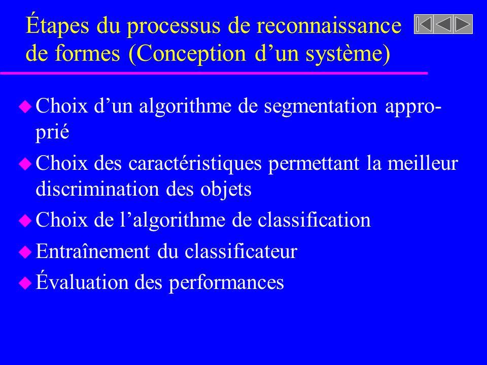 Étapes du processus de reconnaissance de formes (Conception d'un système)