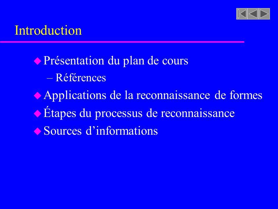 Introduction Présentation du plan de cours