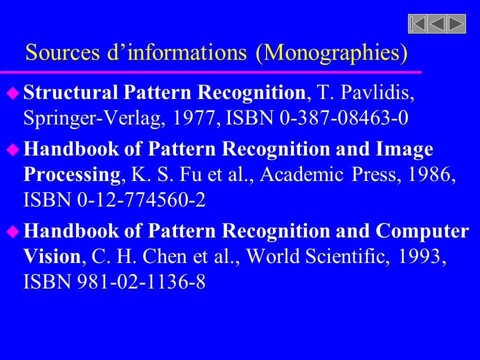 Sources d'informations (Monographies)