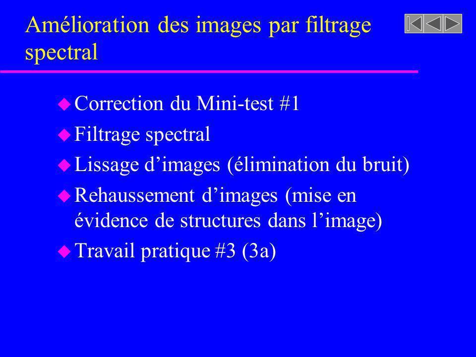 Amélioration des images par filtrage spectral