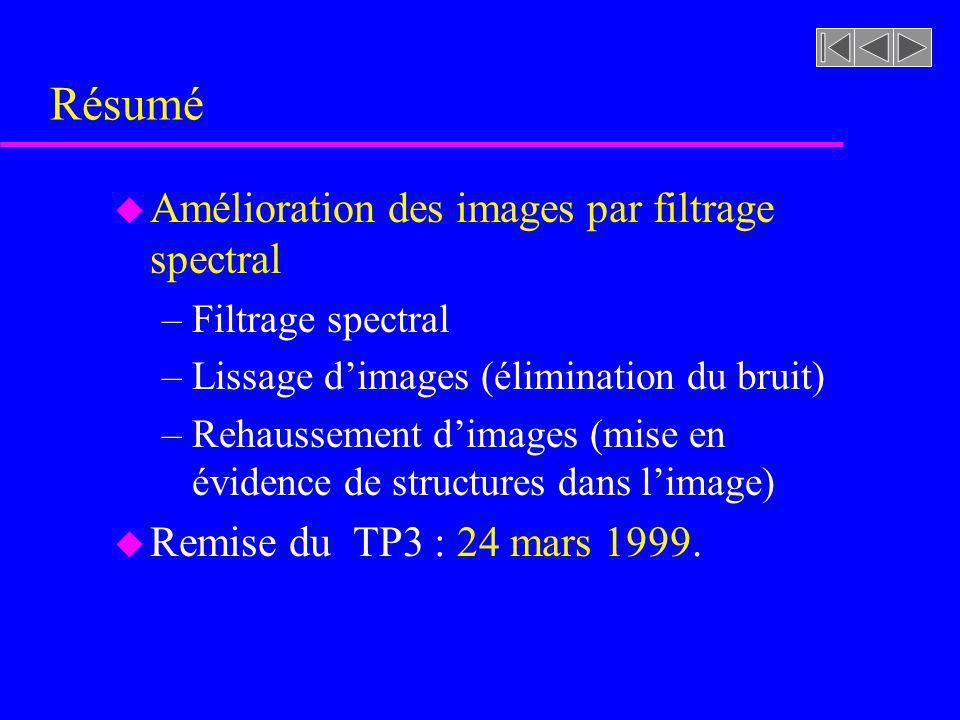 Résumé Amélioration des images par filtrage spectral