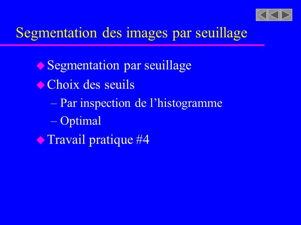 Segmentation des images par seuillage
