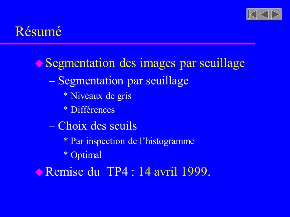Résumé Segmentation des images par seuillage