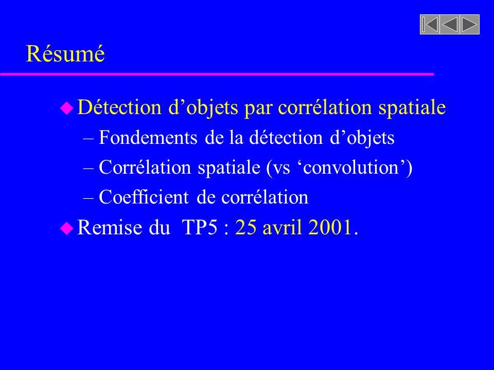 Résumé Détection d'objets par corrélation spatiale