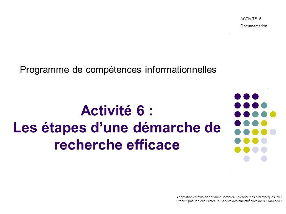 Activité 6 : Les étapes d'une démarche de recherche efficace
