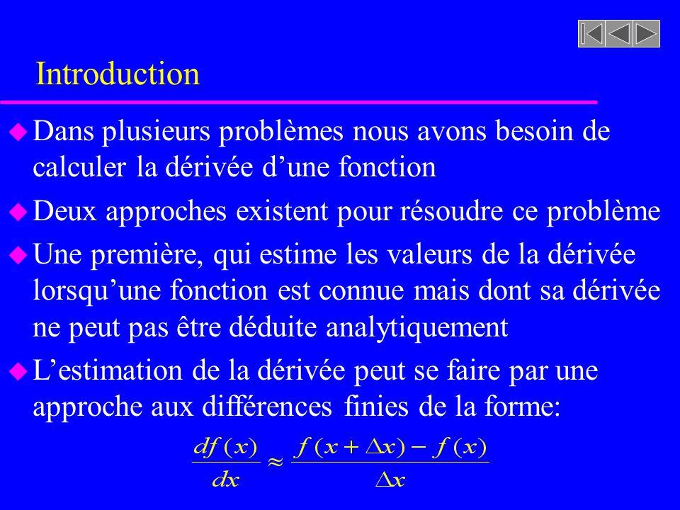 Introduction Dans plusieurs problèmes nous avons besoin de calculer la dérivée d'une fonction. Deux approches existent pour résoudre ce problème.