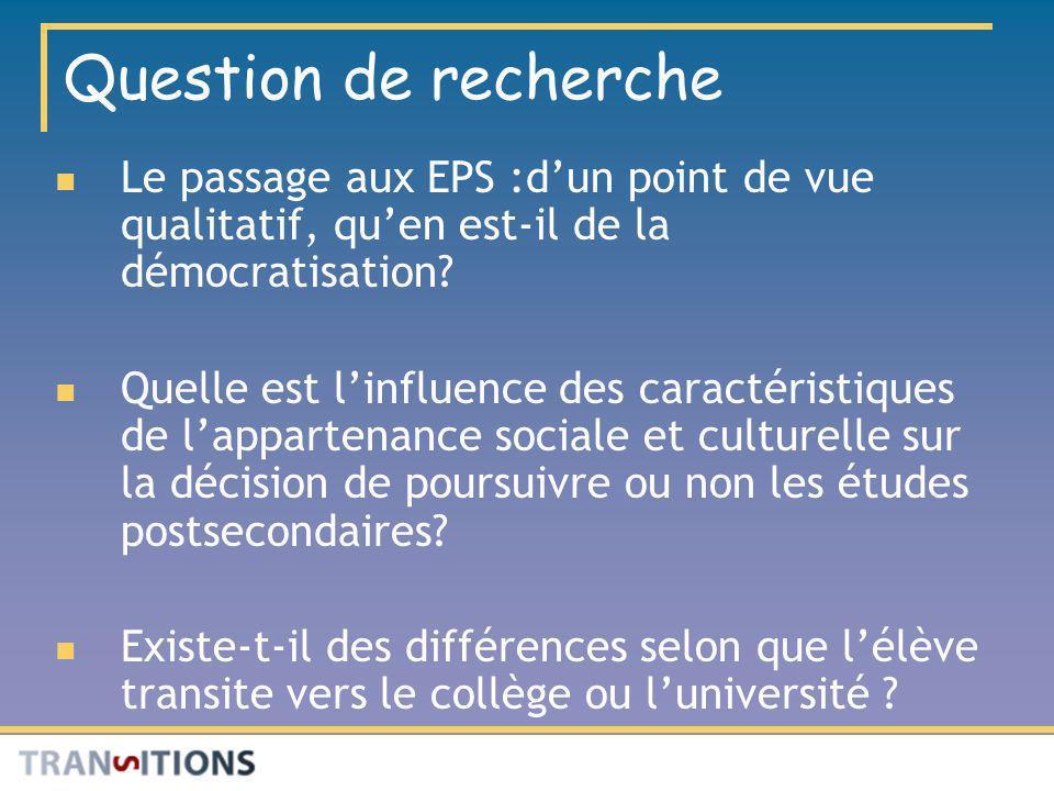Question de recherche Le passage aux EPS :d'un point de vue qualitatif, qu'en est-il de la démocratisation
