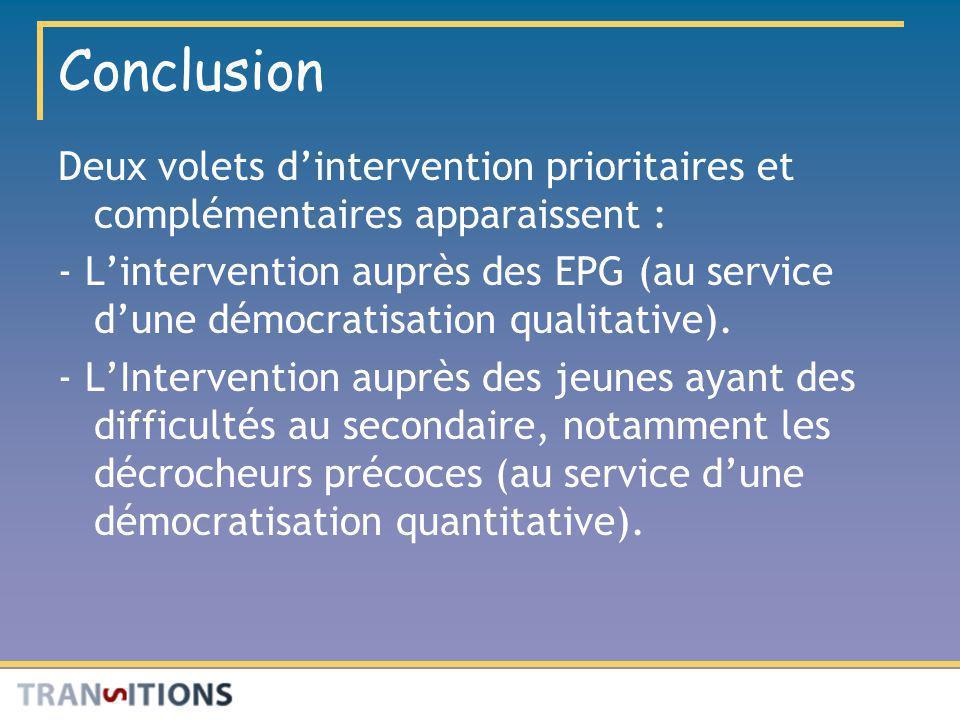 Conclusion Deux volets d'intervention prioritaires et complémentaires apparaissent :