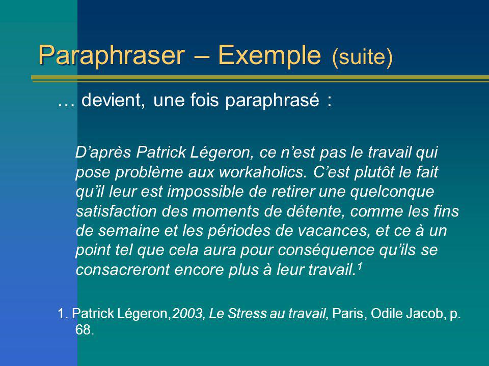 Paraphraser – Exemple (suite)