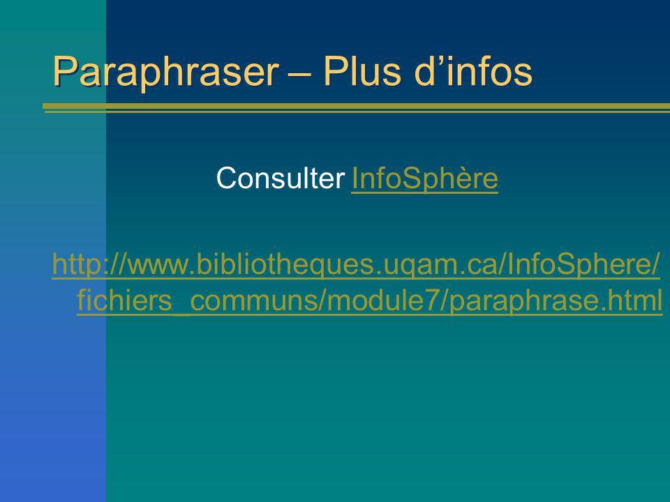 Paraphraser – Plus d'infos