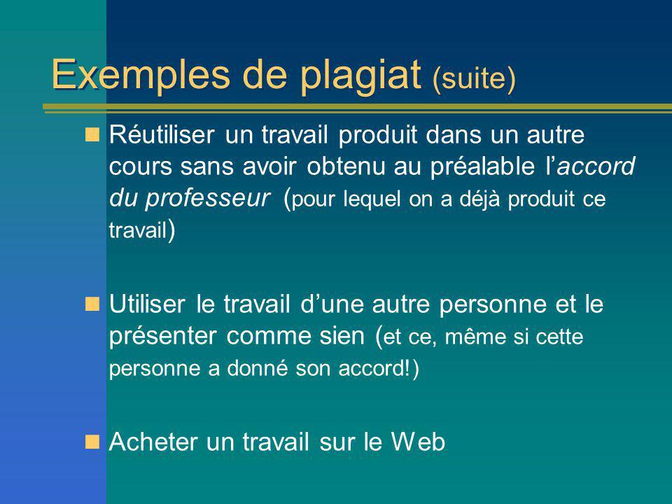 Exemples de plagiat (suite)