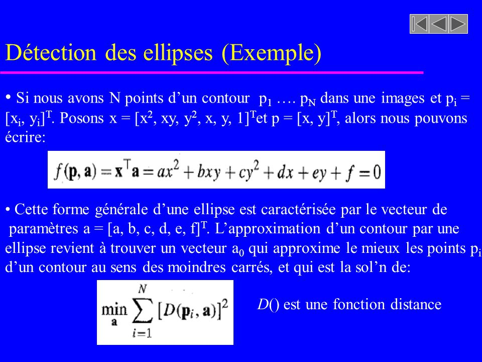 Détection des ellipses (Exemple)