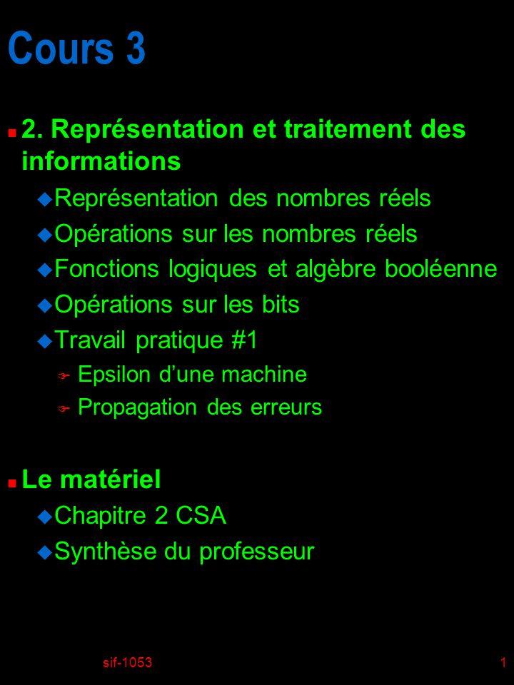 Cours 3 2. Représentation et traitement des informations Le matériel