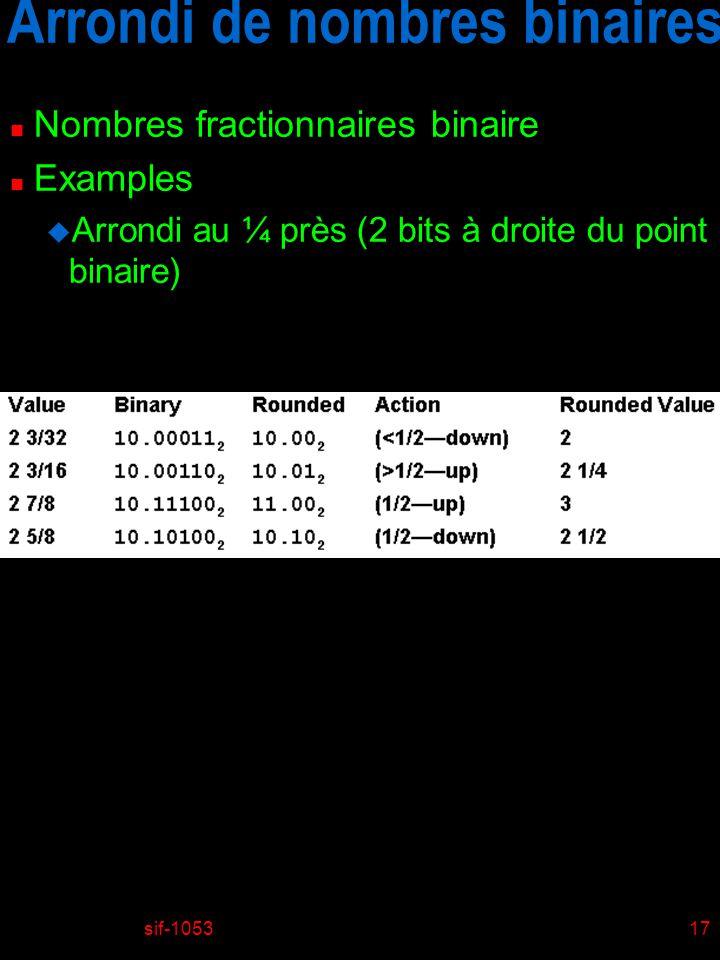 Arrondi de nombres binaires