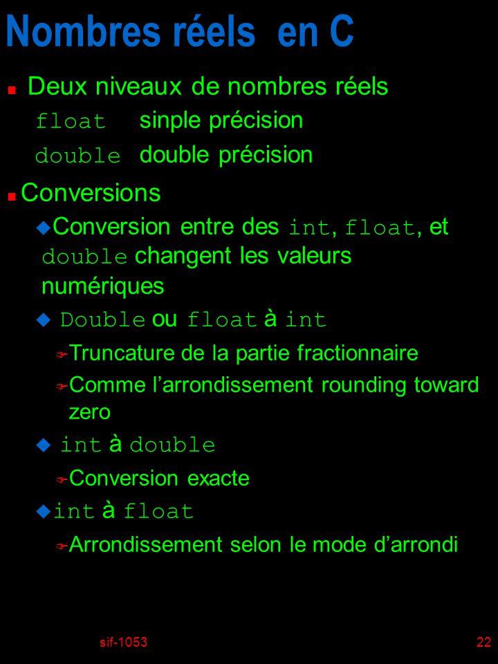 Nombres réels en C Deux niveaux de nombres réels Conversions