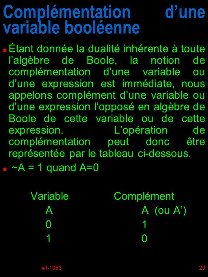 Complémentation d'une variable booléenne