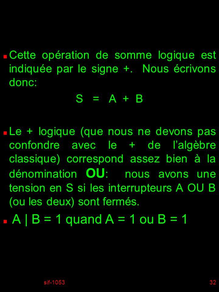 01/04/2017 Cette opération de somme logique est indiquée par le signe +. Nous écrivons donc: S = A + B.