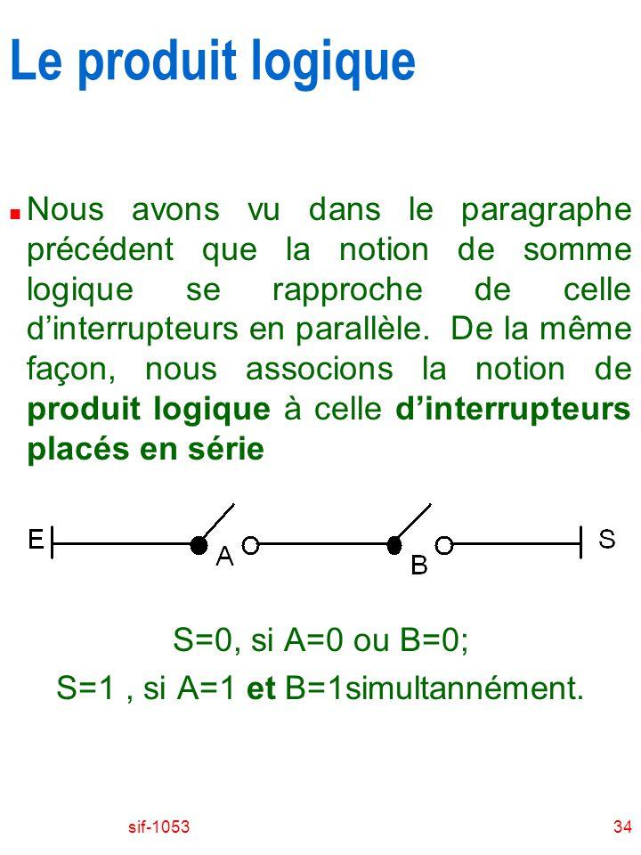 S=1 , si A=1 et B=1simultannément.