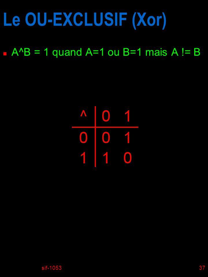 Le OU-EXCLUSIF (Xor) A^B = 1 quand A=1 ou B=1 mais A != B sif-1053