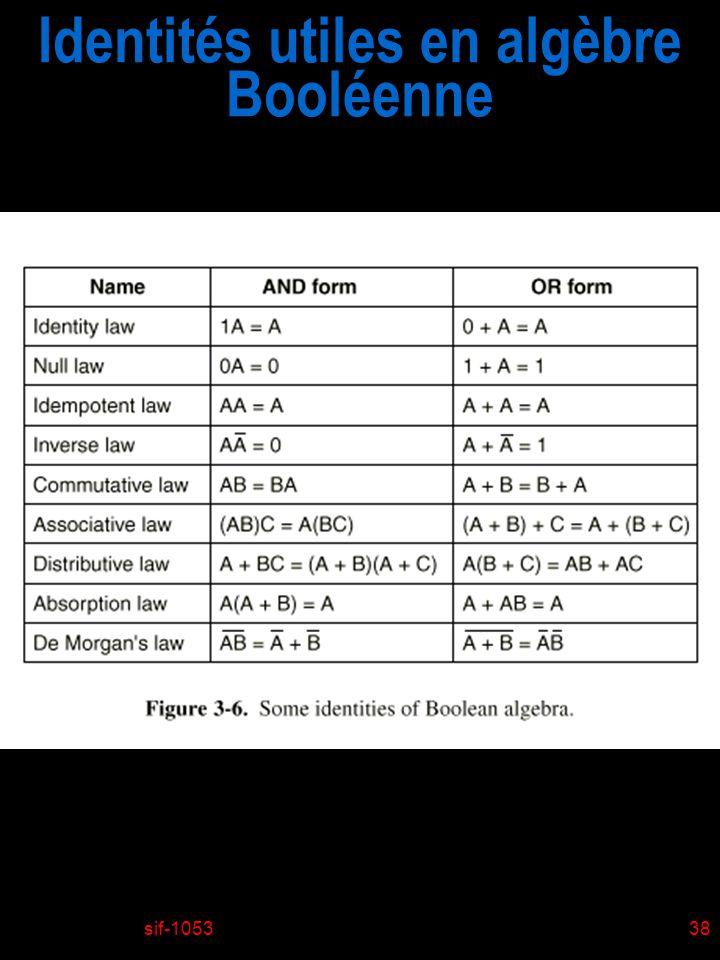 Identités utiles en algèbre Booléenne
