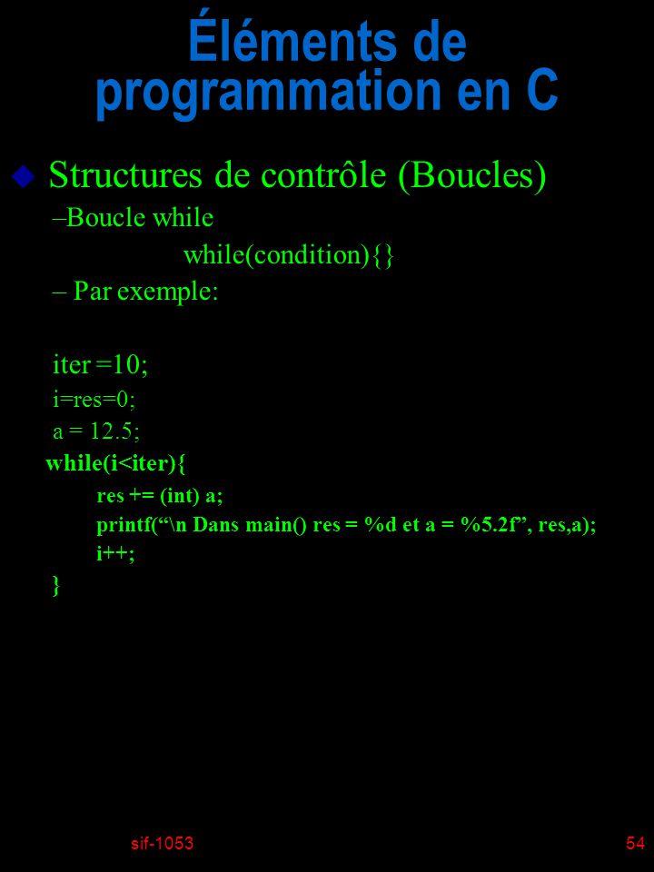 Éléments de programmation en C