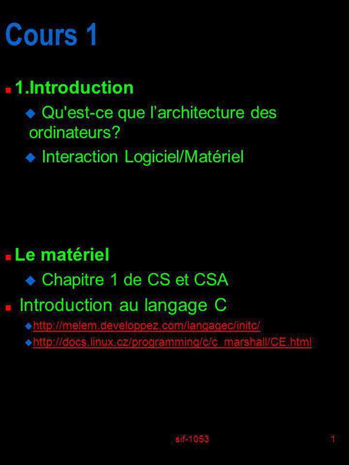 Cours 1 1.Introduction Le matériel Introduction au langage C