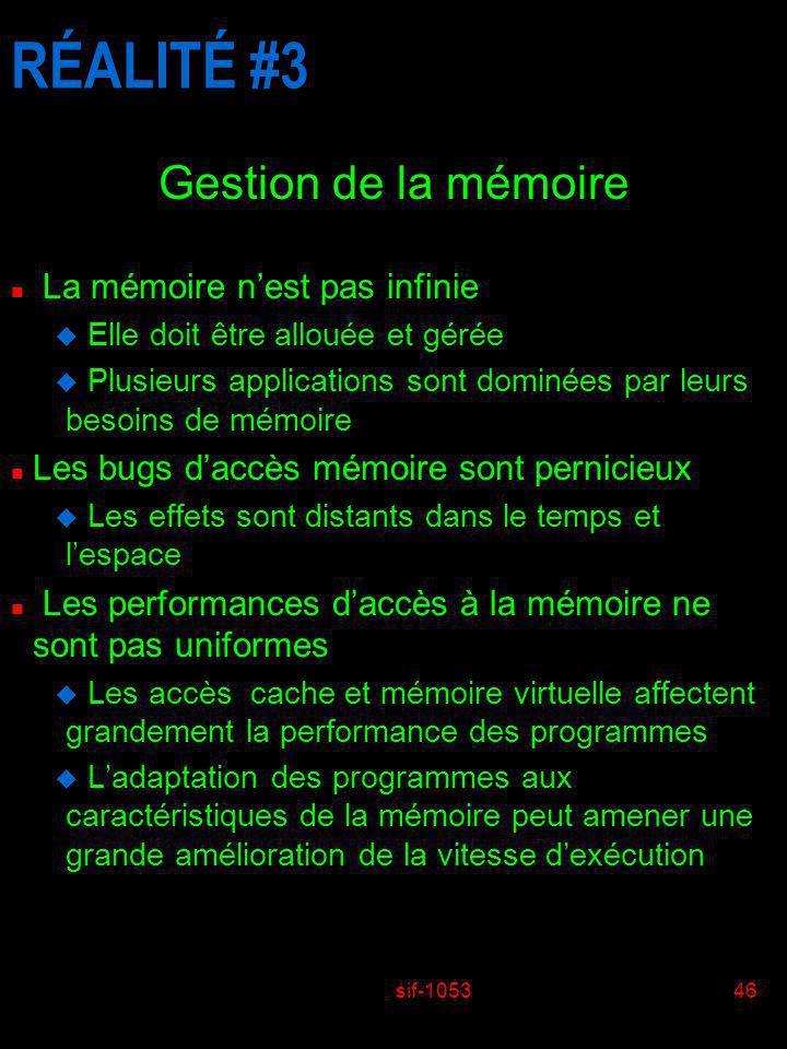 RÉALITÉ #3 Gestion de la mémoire La mémoire n'est pas infinie
