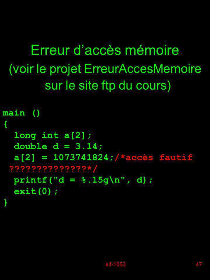 Erreur d'accès mémoire