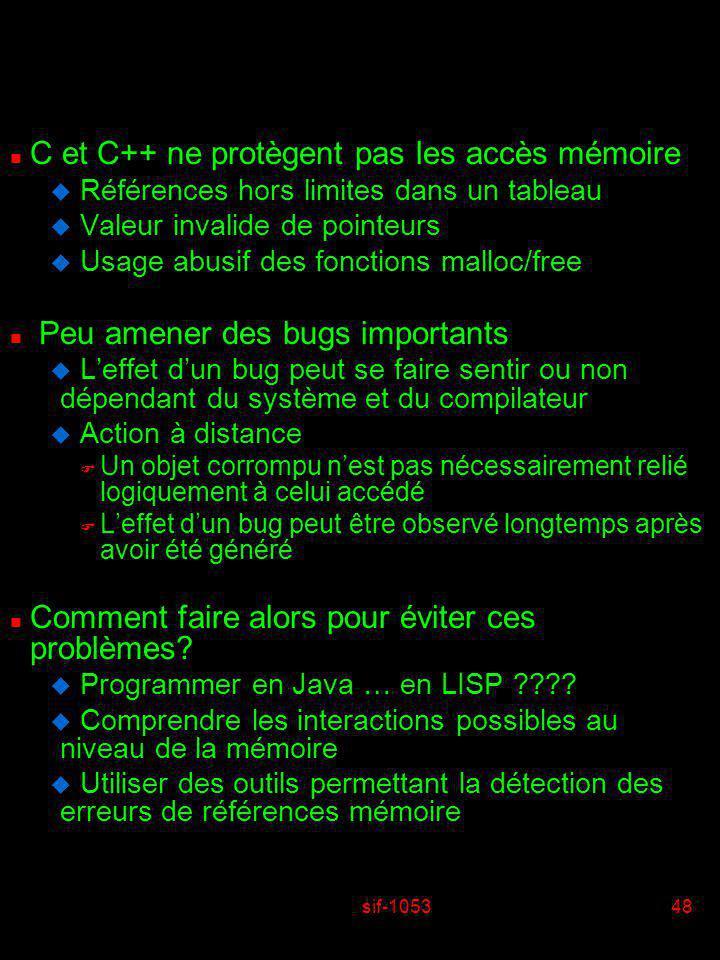 C et C++ ne protègent pas les accès mémoire