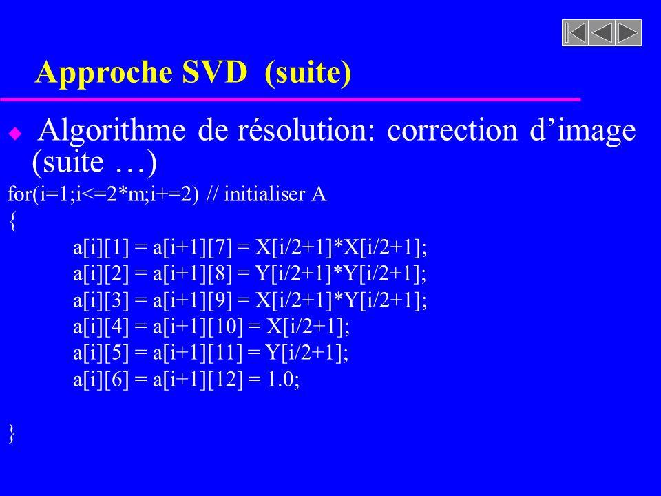 Approche SVD (suite) Algorithme de résolution: correction d'image (suite …) for(i=1;i<=2*m;i+=2) // initialiser A.