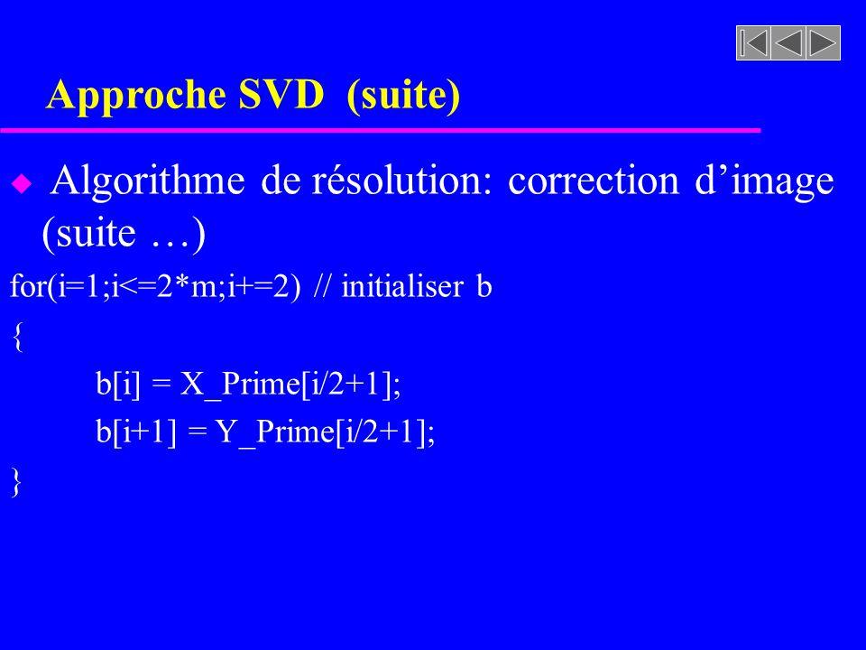 Approche SVD (suite) Algorithme de résolution: correction d'image (suite …) for(i=1;i<=2*m;i+=2) // initialiser b.