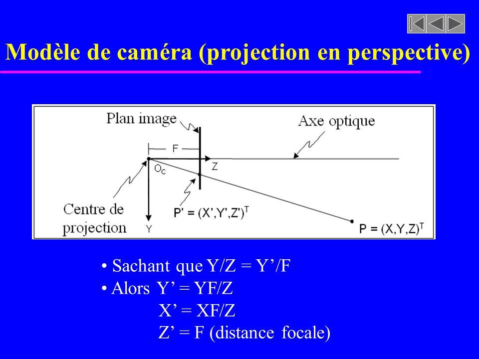 Modèle de caméra (projection en perspective)