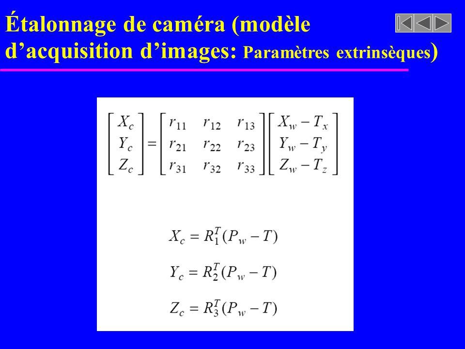 Étalonnage de caméra (modèle d'acquisition d'images: Paramètres extrinsèques)