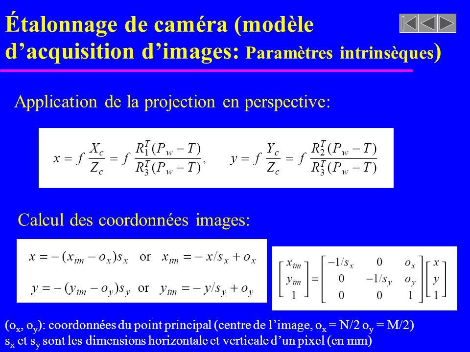 Étalonnage de caméra (modèle d'acquisition d'images: Paramètres intrinsèques)