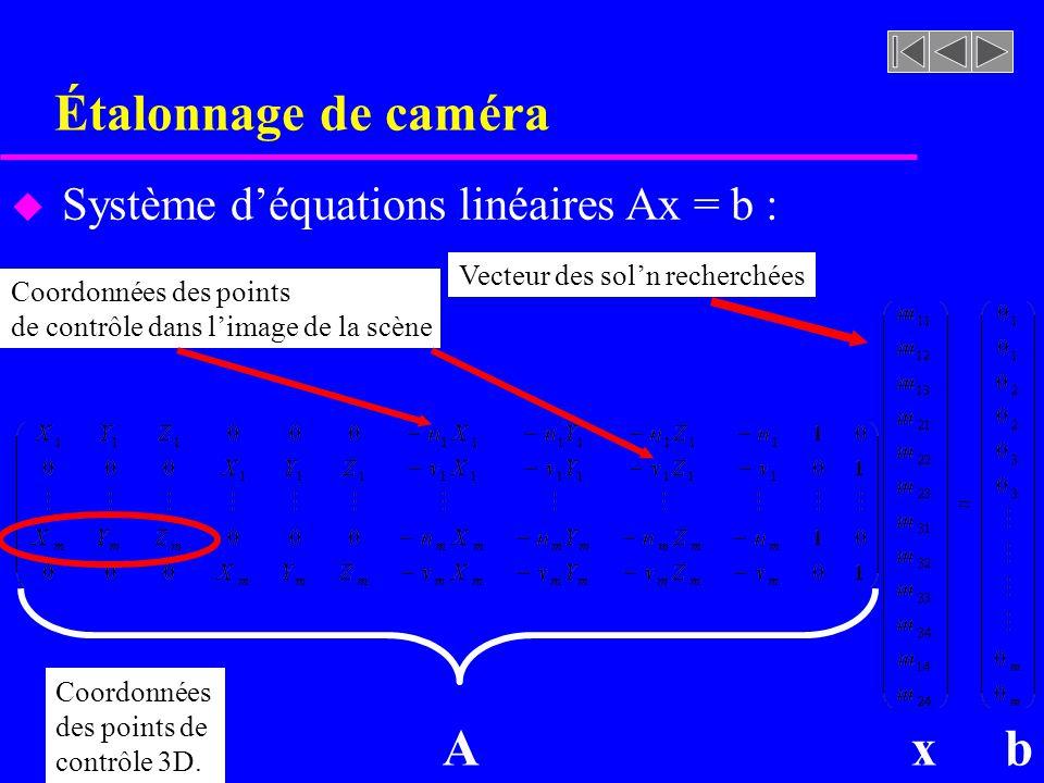 Étalonnage de caméra A x b Système d'équations linéaires Ax = b :