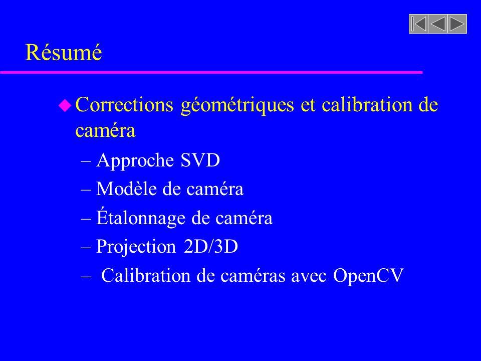 Résumé Corrections géométriques et calibration de caméra Approche SVD