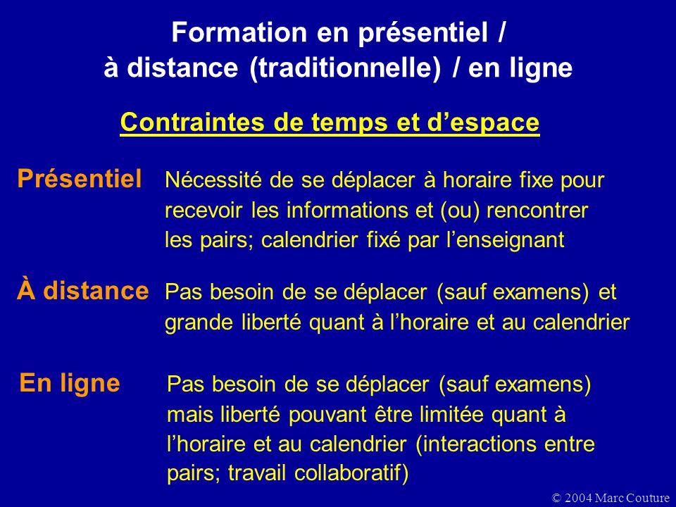 Formation en présentiel / à distance (traditionnelle) / en ligne