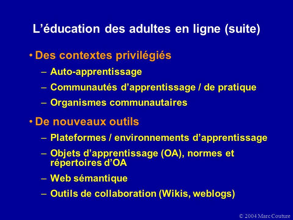L'éducation des adultes en ligne (suite)