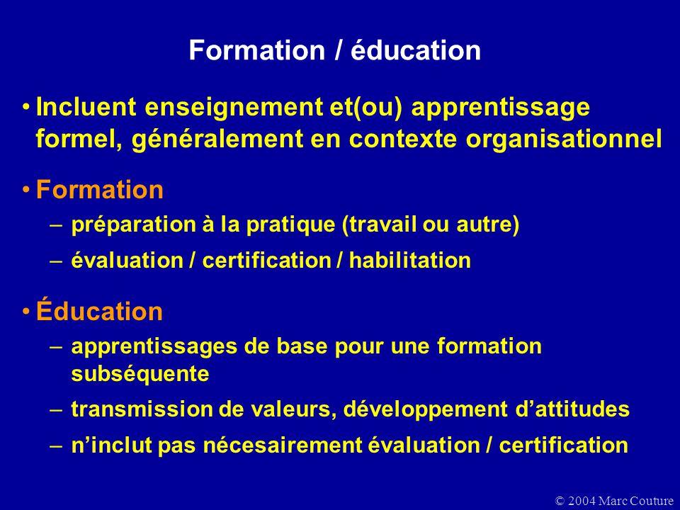 Formation / éducation Incluent enseignement et(ou) apprentissage formel, généralement en contexte organisationnel.