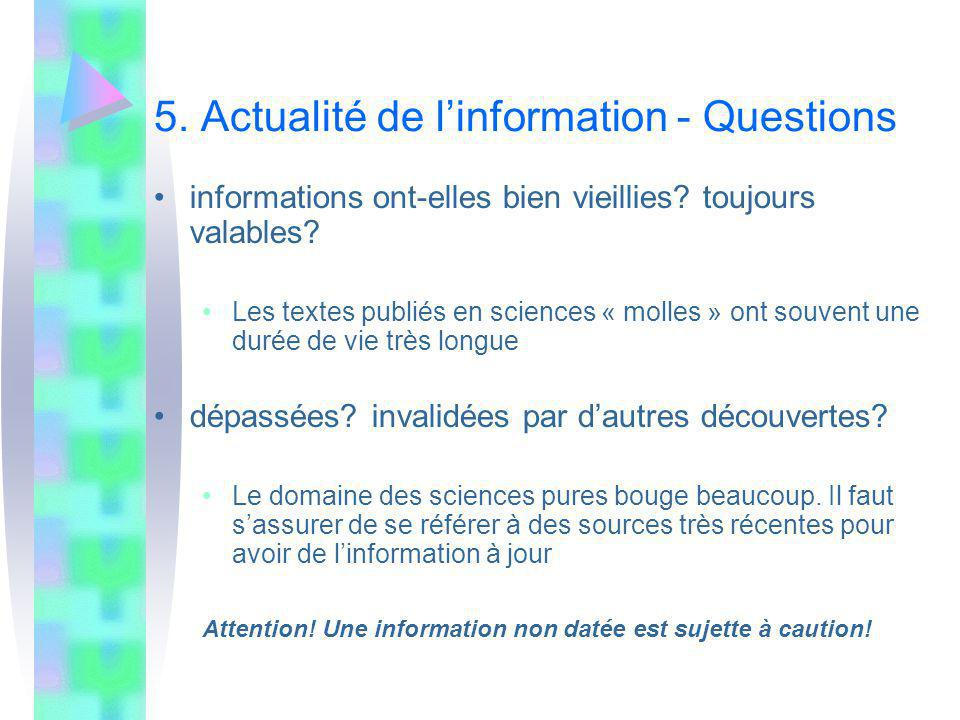 5. Actualité de l'information - Questions