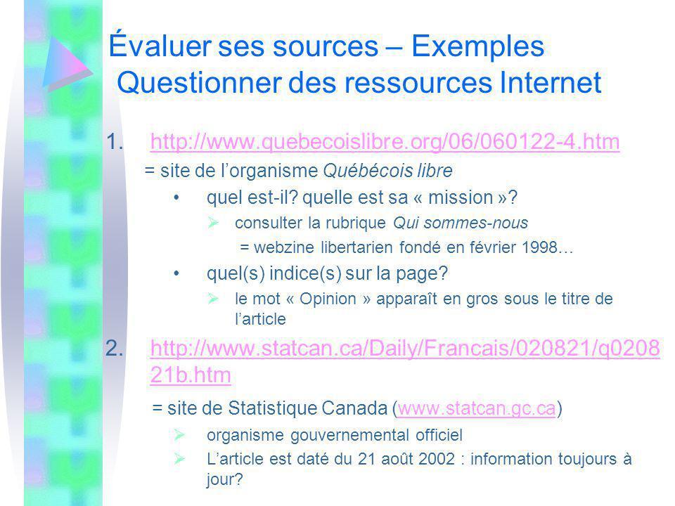 Évaluer ses sources – Exemples Questionner des ressources Internet