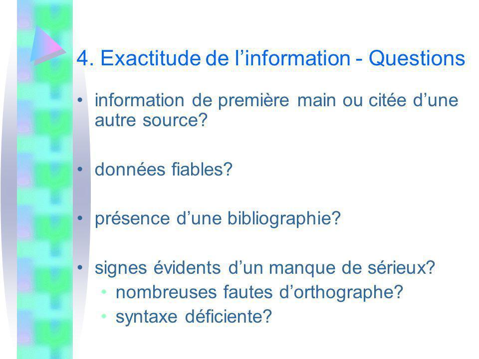 4. Exactitude de l'information - Questions