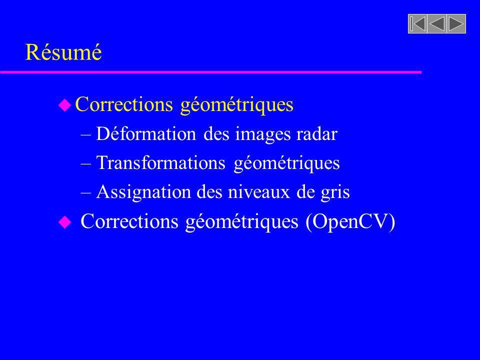 Résumé Corrections géométriques Corrections géométriques (OpenCV)