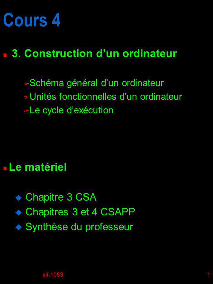 Cours 4 3. Construction d'un ordinateur Le matériel Chapitre 3 CSA