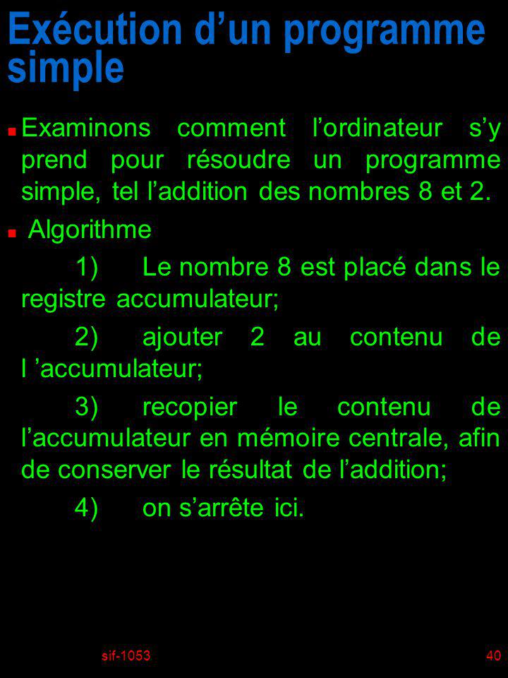 Exécution d'un programme simple